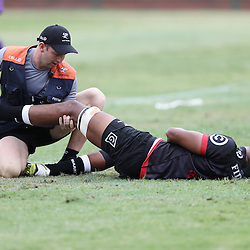Hyron Andrews of the Cell C Sharks during The Cell C Sharks Pre Season warm up game 1,The Cell C Sharks B and the Toyota Cheetahs B,at King Zwelithini Stadium, Umlazi, Durban, South Africa. Friday, 3rd February 2017 (Photo by Steve Haag)