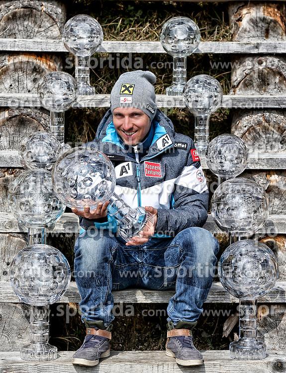 21.03.2016, Abtenau, AUT, FIS Weltcup Ski Alpin, Marcel Hirscher mit den Weltcupkugeln, im Portrait, im Bild der 5 fache Gesamtweltcupsieger, Marcel Hirscher (AUT) bei einem Fotoshooting // 5 Times Overall Worldcup Winner Marcel Hirscher of Austria during a Photoshooting in Abtenau, Austria on 2016/03/21. EXPA Pictures © 2016, PhotoCredit: EXPA/ BILDSYMPHONIE/ Andreas Tröster