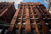 Red brick apartment building in Manhattan, New York City.