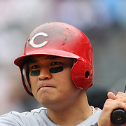 South Korean Shin-Soo Choo, Cincinnati Reds, prepares to bat during the New York Mets V Cincinnati Reds Baseball game at Citi Field, Queens, New York. 22nd May 2012. Photo Tim Clayton