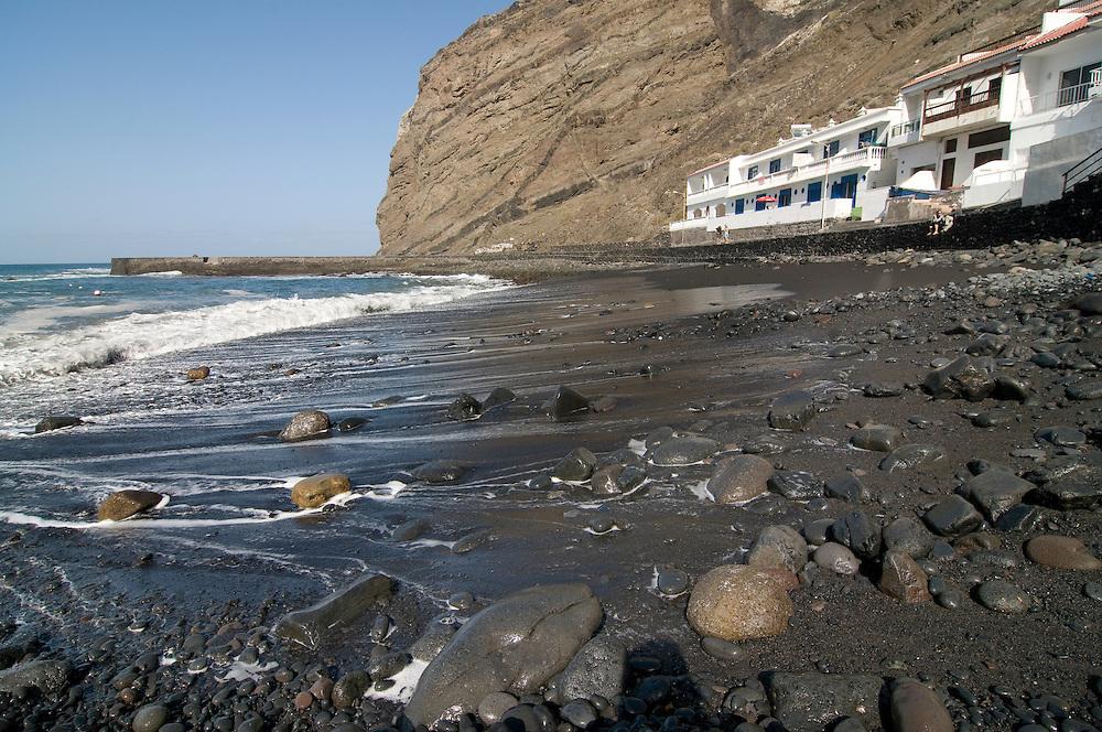 The black sand beach of Alojera,La Gomera,Canary Island,Spain