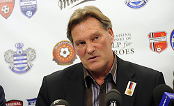 © under license to London News Pictures. 06/03/2012. Former England Manager Glenn Hoddle speaking at the launch of Help For Heroes fund raising event today at the home ground of Queens Park Rangers. The event called the '20-20 Football Elite Legends Cup' will take place at Loftus Road on the 20th May 2012, it boasts the greatest gathering of football legends ever and will be preceded on the day by charity games from the Army, Navy and Royal Airforce to raise funds and awareness in support of the Help for Heroes charity.  Photo Credit: Lee Durant/LNP