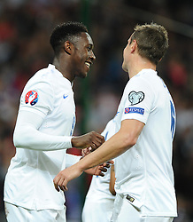 Danny Welbeck of England (Arsenal) celebrates with Phil Jagielka of England (Everton)   - Photo mandatory by-line: Joe Meredith/JMP - Mobile: 07966 386802 - 15/11/2014 - SPORT - Football - London - Wembley - England v Slovenia - EURO 2016 Qualifier