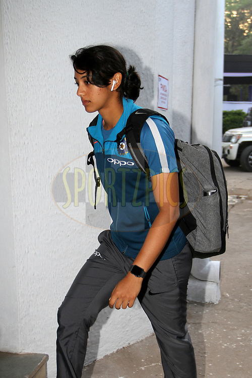 Smriti Mandhana of India arrive on the ground for the first women's one day International ( ODI ) match between India and Australia held at the Reliance Cricket Stadium in Vadodara, India on the 12th March 2018<br /> <br /> Photo by Vipin Pawar / BCCI / SPORTZPICS