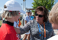 (R) Anna Komorowska - First Lady of Poland & (L) athlete Agnieszka Sobczyk of Poland  during 2011 Special Olympics World Summer Games Athens on June 27, 2011..The idea of Special Olympics is that, with appropriate motivation and guidance, each person with intellectual disabilities can train, enjoy and benefit from participation in individual and team competitions...Greece, Athens, June 27, 2011...Picture also available in RAW (NEF) or TIFF format on special request...For editorial use only. Any commercial or promotional use requires permission...Mandatory credit: Photo by © Adam Nurkiewicz / Mediasport
