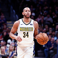 01 April 2018: Denver Nuggets guard Devin Harris (34) brings the ball up court during the Denver Nuggets 128-125 victory over the Milwaukee Bucks, at the Pepsi Center, Denver, Colorado, USA.