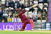 Ashley Nurse of West Indies attacks the bowling in the final over during the One Day International match between England and West Indies at the Ageas Bowl, Southampton, United Kingdom on 29 September 2017. Photo by Graham Hunt.