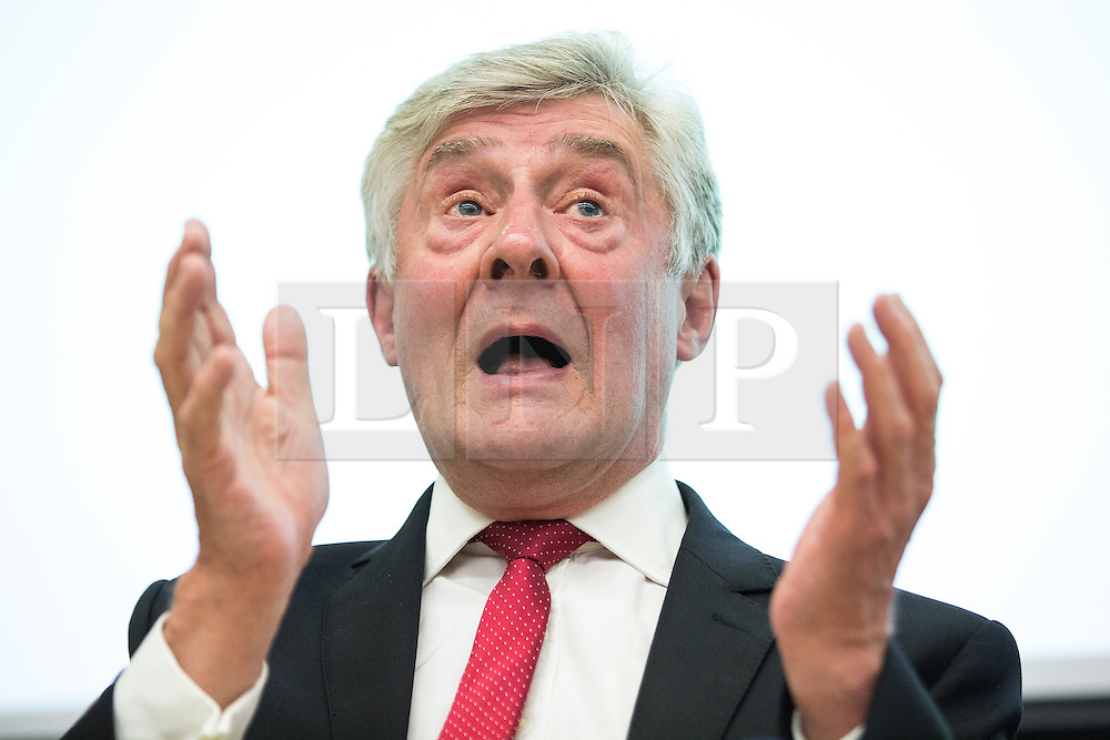 © Licensed to London News Pictures . 21/07/2016 . Manchester , UK . TONY LLOYD . Hustings for the Mayoralty of Greater Manchester , at the Renold Building of the University of Manchester . Labour candidates Andy Burnham ( MP for Leigh ) , Tony Lloyd ( current interim Mayor ) and  Ivan Lewis ( MP for Bury South ) debate their relative candidacies . Photo credit : Joel Goodman/LNP