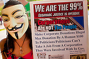 14 OCTOBER 2011 - PHOENIX, AZ:   A protester at the Occupy Phoenix march in Phoenix, AZ. About 300 people participated in the Occupy Phoenix march through downtown Phoenix Friday evening, Oct. 14. The march was the first event in the Occupy Phoenix protests which start with the occupation of Cesar Chavez Plaza, a large square in downtown Phoenix.  PHOTO BY JACK KURTZ