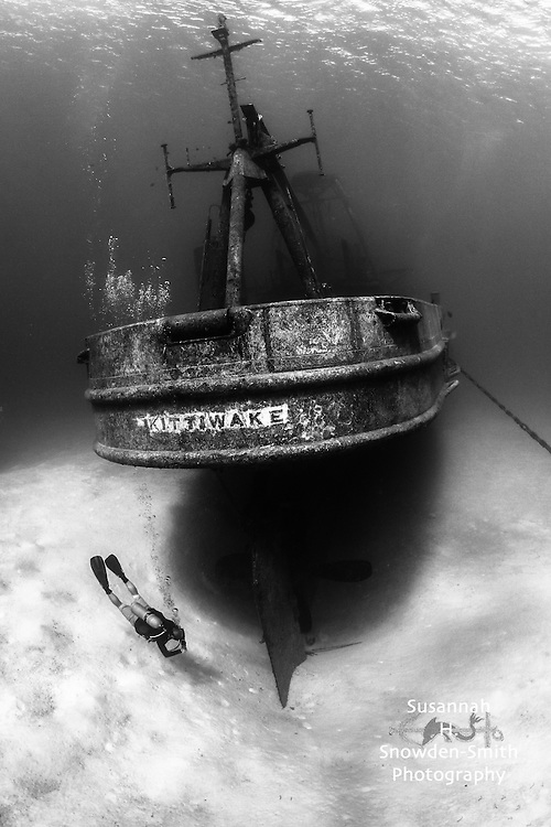 Kittiwake Shipwreck stern, Grand Cayman