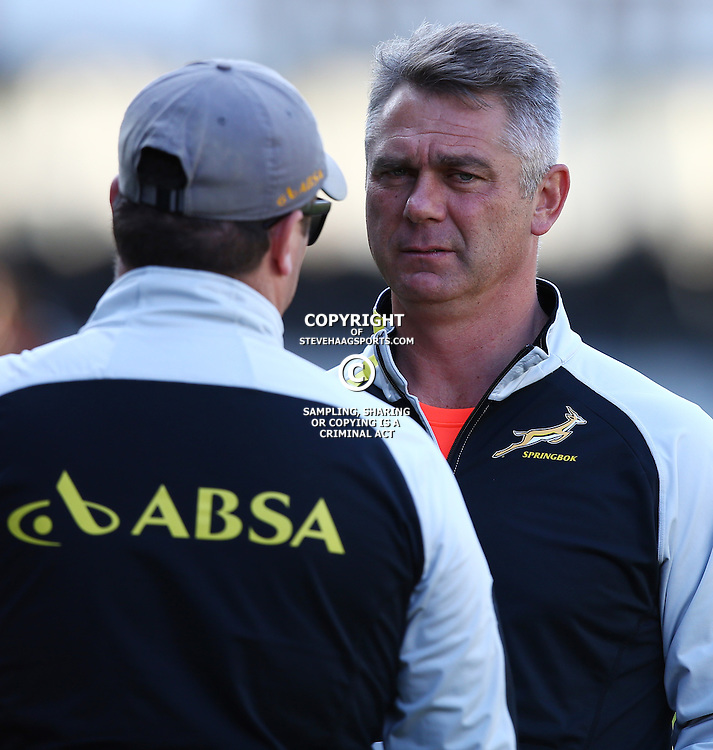 DURBAN, SOUTH AFRICA - AUGUST 05: Heyneke Meyer (Head Coach) of South Africa during the South Africa Springboks training session at Growthpoint Kings Park on August 05, 2015 in Durban, South Africa. (Photo by Steve Haag/Gallo Images)