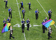 """The Anamosa Blue Raider Marching Band performs """"Pop Icons of Today"""" during the 33rd Annual Marion Marching Invitational at Thomas Park Field in Marion on Saturday, September 28, 2013."""