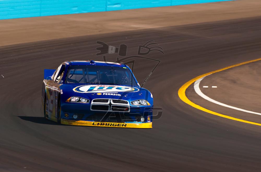 AVONDALE, AZ - MAR 03, 2012:  Brad Keselowski (2) brings his NASCAR Sprint Cup car through turn 4 during qualifying for the Subway Fresh Fit 500 race at the Phoenix International Raceway in Avondale, AZ.