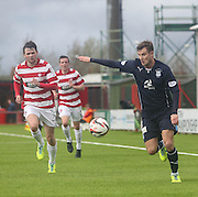 Dundee's Willie Dyer goes past Hamilton Academical's Lee Kilday - Hamilton v Dundee, SPFL Championship at <br /> New Douglas Park<br /> <br />  - &copy; David Young - www.davidyoungphoto.co.uk - email: davidyoungphoto@gmail.com