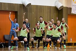 Players of FC Dobovec celebrate goal during futsal match between FC Litija and FC Dobovec Pivovarna Kozel in Final of 1.SFL 2017/18, on May 18, 2018 in Sports hall Litija, Litija, Slovenia. Photo by Urban Urbanc / Sportida