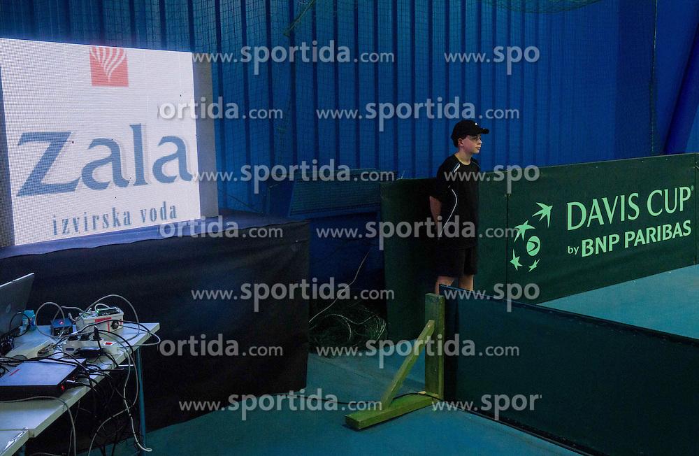 Sponsors during Davis Cup Slovenia vs Lithuania competition, on October 30, 2015 in Kranj, Slovenia. Photo by Vid Ponikvar / Sportida