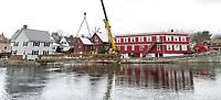 Footbridge set with crane behind Church Street at Perley Canal.  Karen Bobotas for the Laconia Daily Sun
