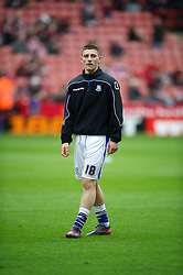 SHEFFIELD, ENGLAND - Saturday, March 17, 2012: Tranmere Rovers' new loan signing from Wolverhampton Wanderers Jake Cassidy warms up before the Football League One match against Sheffield United at Bramall Lane. (Pic by David Rawcliffe/Propaganda)