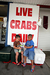 11june 2010. Westwego, Louisiana. <br /> Children play on coolers full of fish at the Shrimp Lot in Westwego just outside New Orleans.  Incomes have crashed as all seafood prices have risen over 30% in the past 4 weeks alone as stocks run low thanks to closed fishing grounds affected by oil pollution. BP's disastrous environmental catastrophe out in the Gulf of Mexico threatens  the livelihood of many thousands of workers affiliated to the fishing industry in Louisiana. Earnings are down as much as  50% of those pre BP's oil disaster. Thousands of barrels of oil per day continues to leak into the Gulf because of the explosion and collapse of the Deepwater Horizon drilling platform 46 miles out to sea. The closure of fishing grounds both east and west of the Mississippi river outflow is crippling thousands of local fishermen and all affiliated businesses and families who rely on the seafood industry. None of the shrimp or other seafood offered at the market are fresh catch from today. Everything has been through the IQF (Instant Quick Freeze) process and is seafood caught out of state or earlier in the season and brought from storage freezers in Venice and Grand Isle. Louisiana stocks are virtually non-existant. With few new catches, the market will be forced to rely on farmed shrimp shipped in from Texas and Georgia. Local traders refuse to stock Chinese import fish raised with growth hormones, pesticides, fungicides and other contaminants widely found in Chinese farm raised seafood. Many fear losing their jobs and everything they own as a result of BP's Gulf Coast environmental disaster.<br /> Photo; Charlie Varley/varleypix.com