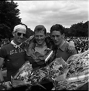 25/06/1961<br /> 06/25/1961<br /> 25 June 1961<br /> Rás Tailteann, the annual 8-day international cycling stage race, finishes at Parnell Square, Dublin. <br /> 1st T. Finn (Dublin) 43.05.19 (centre)<br /> 2nd. B. McKcnna (Meath) 43.05.46 (left)<br /> 3rd S. O'Hanlon (Dublin) 43.09.15 (right)<br /> The Rás Tailteann is an annual 8-day international cycling stage race held in Ireland.