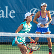 August 20, 2016, New Haven, Connecticut: <br /> Danielle Lao and Jacqueline Cako in action during a US Open National Playoffs match at the 2016 Connecticut Open at the Yale University Tennis Center on Saturday, August  20, 2016 in New Haven, Connecticut. <br /> (Photo by Billie Weiss/Connecticut Open)