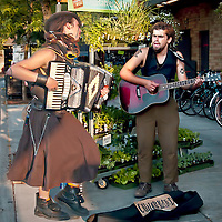 """Street musicians at the market, who call themselves """"Bottom of the Barrel."""""""