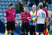 John Welsh of Preston North End remonstrates with Referee Darren Bond at full time during the EFL Sky Bet Championship match between Preston North End and Millwall at Deepdale, Preston, England on 23 September 2017. Photo by Paul Thompson.