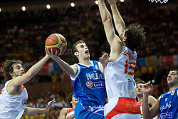 Pau Gasol of Spain, Nick Calathes of Greece and Garbajosa of Spain during the EuroBasket 2009 Semi-final match between Spain and Greece, on September 19, 2009, in Arena Spodek, Katowice, Poland.  (Photo by Vid Ponikvar / Sportida)