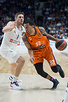 Real Madrid Fabien Causeur and Valencia Basket Erick Green during Turkish Airlines Euroleague match between Real Madrid and Valencia Basket at Wizink Center in Madrid, Spain. December 19, 2017. (ALTERPHOTOS/Borja B.Hojas)