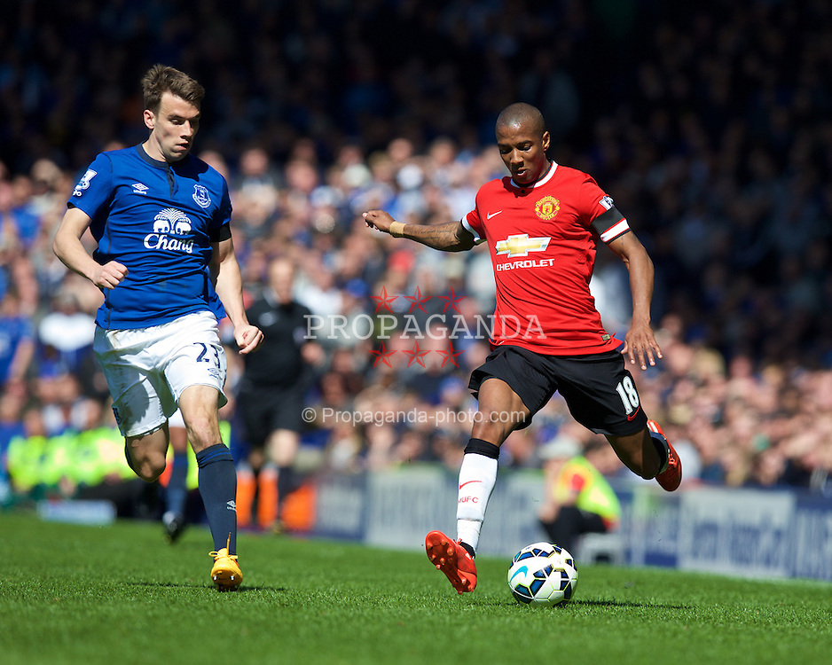 LIVERPOOL, ENGLAND - Sunday, April 26, 2015: Manchester United's Ashley Young in action against Everton during the Premier League match at Goodison Park. (Pic by David Rawcliffe/Propaganda)