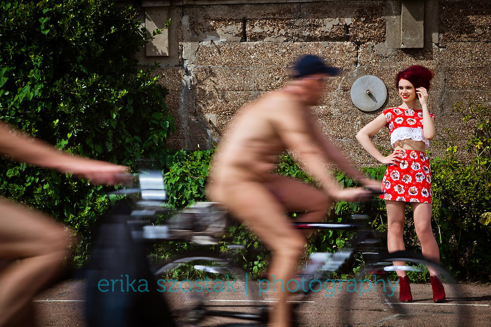 Overdressed at the Brighton Naked Bike Ride 2014<br />