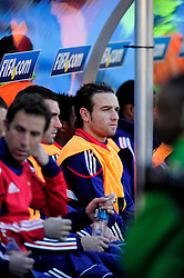 Mathieu Valbuena sits on the bench during the 2010 World Cup Soccer match between South Africa and France played at the Freestate Stadium in Bloemfontein South Africa on 22 June 2010.