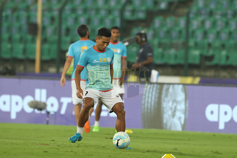 Seiminlen Doungel of Northeast United FC during match 6 of the Hero Indian Super League between Chennaiyin FC and NorthEast United FC held at the Jawaharlal Nehru Stadium, Chennai, India on the 23rd November 2017<br /> <br /> Photo by: Ron Gaunt / ISL / SPORTZPICS