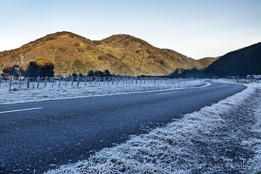 Early morning frost on Mangatarere Valley Road, Wairarapa, New Zealand