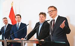 11.03.2020, Bundeskanzleramt, Wien, AUT, Bundesregierung, Pressefoyer nach Sitzung des Ministerrats, im Bild v. l. Karl Nehammer (OeVP), Sebastian Kurz (OeVP), Werner Kogler (Gruene), Rudolf Anschober (Gruene)// during media briefing after cabinet meeting at the federal chancellery in Vienna, Austria on 2020/03/11. EXPA Pictures © 2020, PhotoCredit: EXPA/ Florian Schroetter