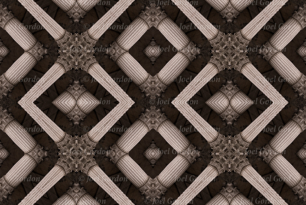 Monochromatic digital abstract of Beux Arts of repeating patterns of  Corinthian columns and capitals.  A kaleidoscope of shapes and lines design patterns.