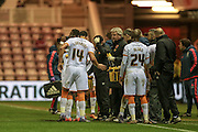 Steve Bruce (Hull City) talks to his players during a break in the play for an injury during the Sky Bet Championship match between Middlesbrough and Hull City at the Riverside Stadium, Middlesbrough, England on 18 March 2016. Photo by Mark P Doherty.