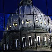 Idaho State Capitol dome reflected in windows, Boise, Idaho