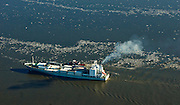 Aerial view of the South Hampton Star on the Delaware River heading north towards Penn Terminals in January 2010