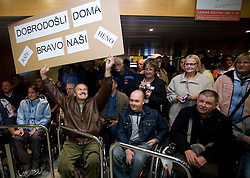 Fans at welcome ceremony for paraolympic sportsmen at Airport Joze Pucnik, on September 20, 2008, in Brnik, Slovenia. (Photo by Vid Ponikvar / Sportal Images)./ Sportida)
