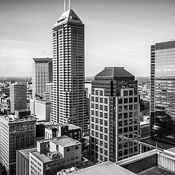 Indianapolis aerial black and white photo with downtown Indianapolis city office buildings and skyscrapers including Chase Tower, OneAmerica Tower, One Indiana Square (Regions building), Market Tower (Key Bank building), and BMO Plaza.