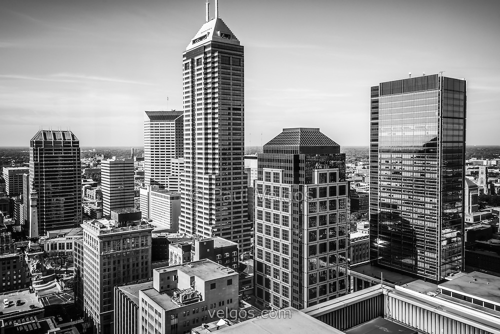 Indianapolis aerial black and white photo with downtown indianapolis city office buildings and skyscrapers including chase