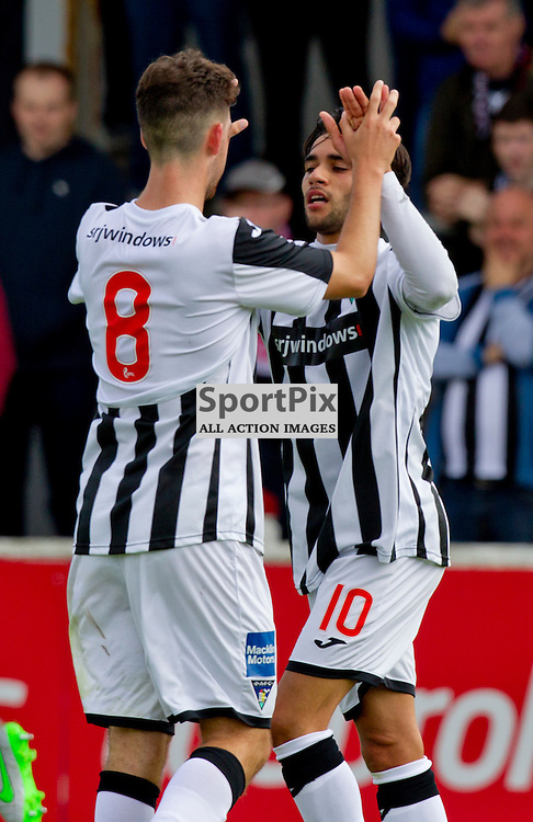 Arbroath v Dunfermline Athletic Petrofac cup first round Gayfield Park 25 July 2015<br /> Faissal El Bakhtaoui celebrates with Shaun Byrne following his second goal<br /> CRAIG BROWN | sportPix.org.uk
