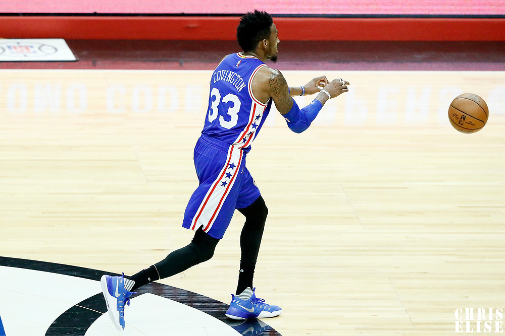 11 March 2017: Philadelphia 76ers forward Robert Covington (33) passes the bsll during the LA Clippers 112-100 victory over the Philadelphia Sixers, at the Staples Center, Los Angeles, California, USA.