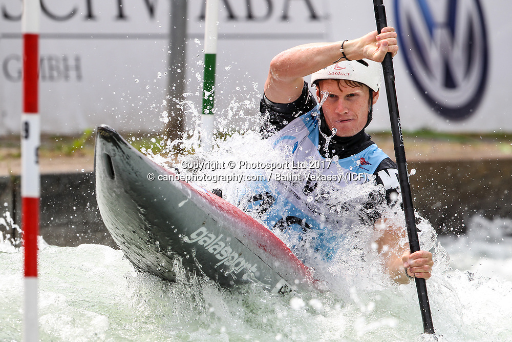Finn Butcher of New Zealand.<br /> 2017 ICF Canoe Slalom World Cup 2 in Augsburg, Germany held 23-25 June 2017.<br /> Copyright photo: Balint Vekassy / www.photosport.nz