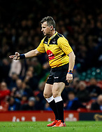 Referee Nigel Owens<br /> <br /> Photographer Simon King/Replay Images<br /> <br /> Guinness PRO14 Round 21 - Cardiff Blues v Ospreys - Saturday 27th April 2019 - Principality Stadium - Cardiff<br /> <br /> World Copyright © Replay Images . All rights reserved. info@replayimages.co.uk - http://replayimages.co.uk