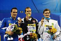 Fabio SCOZZOLI Italia Silver Medal, Alexander DALE OEN Norway Silver Medal, Cameron VAN DER BURGH South Africa Bronze Medal<br /> Men's 50m Butterfly - Swimming / Nuoto<br /> Shanghai 25/7/2011 <br /> 14th FINA World Championships<br /> Foto Andrea Staccioli Insidefoto