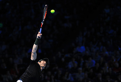 Andy Murray in action during day eight of the Barclays ATP World Tour Finals at The O2, London.