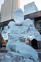 Minneapolis, MN - January 27, 2017: Ice scultptures on Nicollet Mall in Minneapolis, Minnesota. Part of the festivities for Super Bowl LII at US Bank Stadium on February 4th.