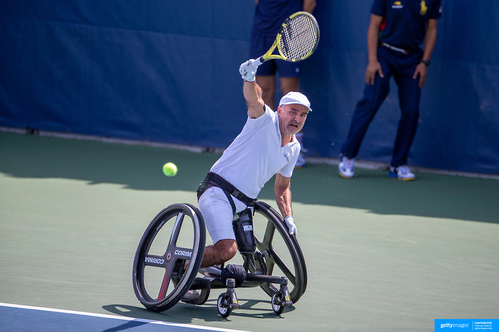 2019 US Open Tennis Tournament- Day Fourteen.   Stephane Houdet of France in action against Alfie Hewett of Great Britain in the Wheelchair Men's Singles Final on court eleven during the 2019 US Open Tennis Tournament at the USTA Billie Jean King National Tennis Center on September 8th, 2019 in Flushing, Queens, New York City.  (Photo by Tim Clayton/Corbis via Getty Images)
